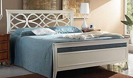 Cama de matrimonio, color blanco lacado vintage, panel ...