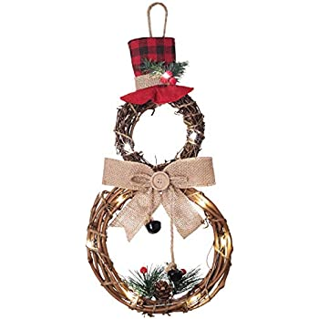 Lvydec Lighted Christmas Wreath Decoration - 16 x 8 Inch Grapevine Wreath with Hat and Bow Snowman Shape Wreath for Front Door Home Wall Decor