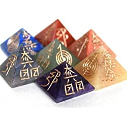 Natural Gemstone Reiki Symbol Engraved Chakra Set Reiki Crystals Healing 7pc Set (Stone Pyramid Reiki)