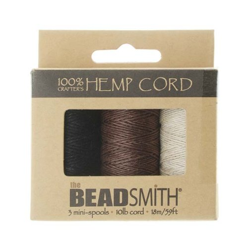 Hemp Twine Bead Cord .5mm 3 Spool App 59 Feet 42543 by (Hemp Twine Wholesale)