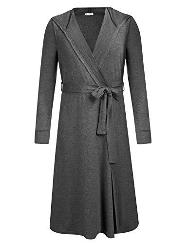 AMONIDA Mens Cotton Robe Big and Tall Hooded Bathrobe Lightweight Spa Bathrobe