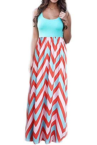 - ReachMe Womens Chevron Tank Dress Loose Maxi Dresses with Pockets Casual Summer Dress(Mint,S)