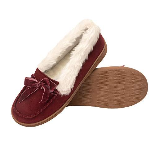 Jessica Simpson Womens Micro Suede Moccasin Indoor Outdoor Slipper Shoe (Size Medium, Wine)
