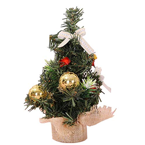 Mini Artifical Christmas Tree Tabletop Fir Decor Set with Ornaments,Great Choice Decoration for Table Desk Tops, Perfect to Decorate Your Home or Office, Gold Ornaments Indoor -