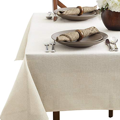- Benson Mills Tweed Tablecloth, 60X120, Ivory