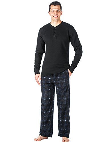 Noble Mount Mens Microfleece Lounge Set - [Plaid Blue] - (Mens Microfleece Long Sleeve)