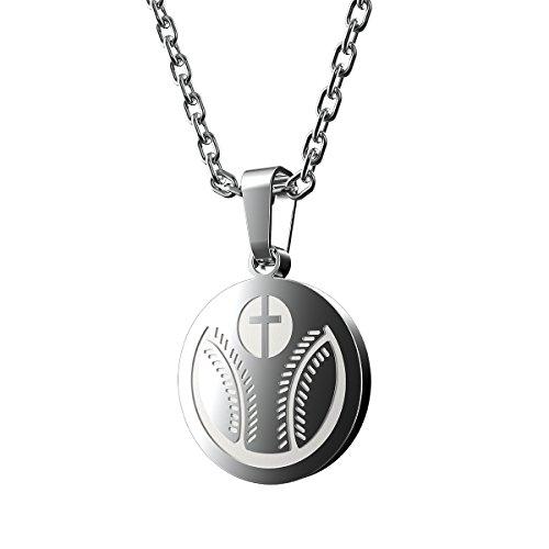Haoflower Sports Pendant Necklace Baseball Inspirational Bible Verse Luke 1:37 Christian Gift for Teens