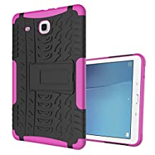 "MOONCASE Galaxy Tab E 9.6-inch Case Built-in Kickstand Hybrid Armor Case Detachable 2 in 1 Shockproof Tough Rugged Dual-Layer Case Cover for Samsung Galaxy Tab E 9.6"" Hotpink"