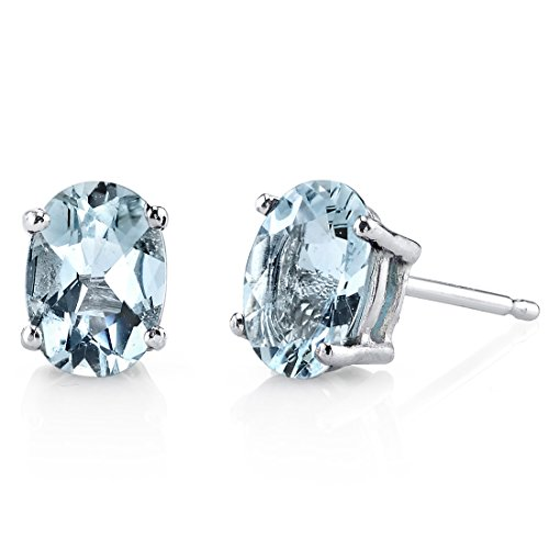 14 Karat White Gold Oval Shape 1.25 Carats Aquamarine Stud Earrings
