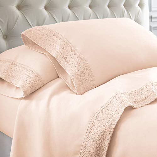 eLuxurySupply 4-Piece Chochet lace Microfiber Sheet Set Blush Cal King