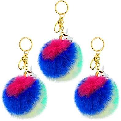 3 Pieces Unicorn Pom Pom Keychain Rainbow Faux Fur Fluffy ...