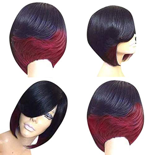 Celendi Wig,Women's Short Curly Synthetic Wigs for Black Women Heat Resistant Custom Cosplay Party Full Wigs (Red)