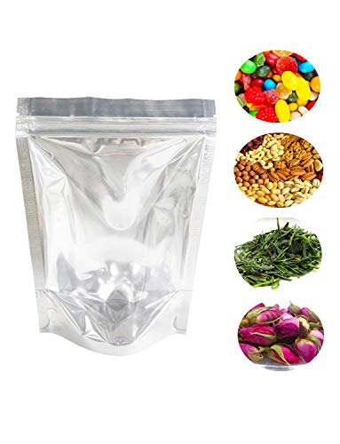 Aluminum Zipper - Lauren 100 PCS Clear 4Mil Reclosable Mylar Foil Ziplock Bags Stand Up Food Pouches Bags Bulk Food Storage Coffee Candy Zipper Bags 13 x 20 cm (5 x 8 Inches)