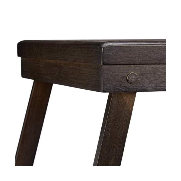 Relaxdays 10023235, Marron Foncé Tablette de Lit Bambou Pieds Rabats Rebords Plateau de Service & Petit Déjeuner, 22x64x31cm