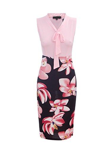 CISMARK Lady Sexy Color block V-Neck Sleeveless Business Pencil Dress Pink L ()