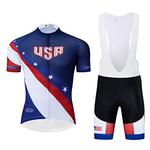 Lo.gas USA Country Flag Cycling Jersey and Shorts Set Training Bike Shirt