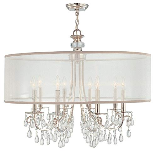 (Crystorama 5628-CH Crystal Accents Eight Light Chandeliers from Hampton collection in Chrome, Pol. Nckl.finish, )