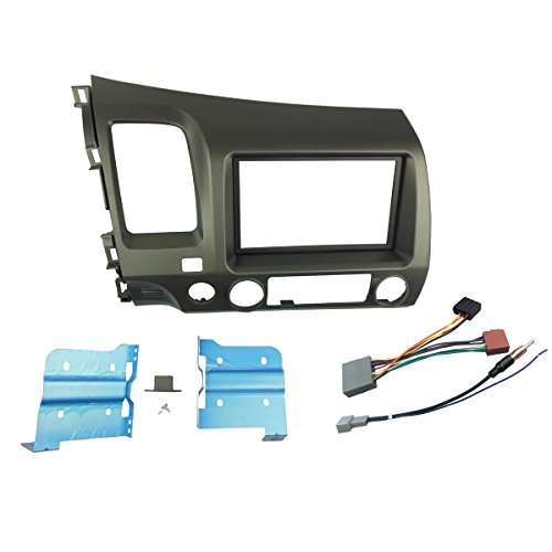 (DKMUS Double Din Radio Stereo Dash Install Mount Trim Kit for Honda Civic 2006-2011 with Wiring Harness Antenna Adapter)