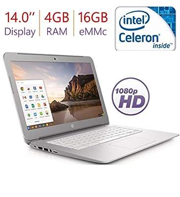 2018 HP Premium 14'' Chromebook FHD IPS Anti-Glare WLED-Backlit (1920 x 1080) Display, Intel Celeron Processor, 4GB DDR3L RAM, 16GB eMMC, WiFi, Bluetooth, HDMI, Bluetooth, Stereo Speakers, Chrome OS