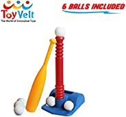Toyvelt T-Ball Set for Toddlers, Kids, Baseball Tee Game Includes 6 Balls, Adjustable T Height - Adapts with Your Child's Gr
