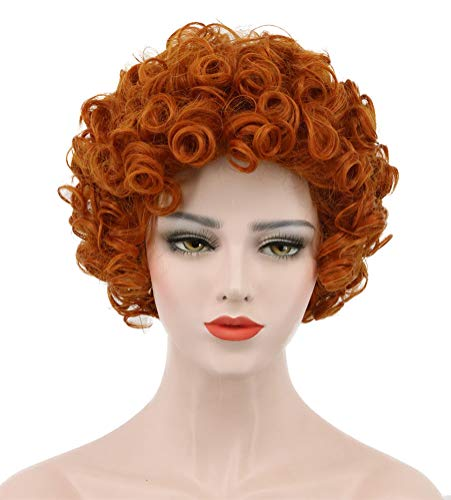 Karlery Women's Short Bob Curly Orange Wig Halloween