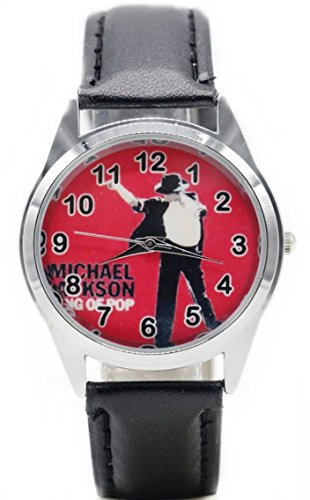 Michael Jackson Collectibles - Michael Jackson King of Pop Red Dial Black Leather Band Wrist Watch