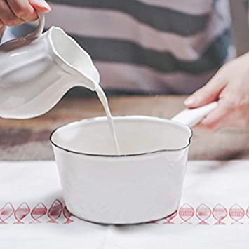 Cazo Cacerolas EsmalteSartén con leche Esmalte Olla Bebé Comida auxiliar Esmalte grueso de tres colores Boca ...