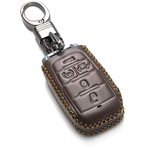 Tailgate Chain - Vitodeco Genuine Leather Keyless Entry Remote Control Smart Key Case Cover with Leather Key Chain for 2019 RAM 1500 (5-Button with Tailgate, Brown)