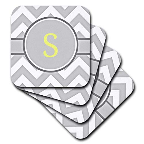 - 3dRose Grey and White Chevron with Yellow Monogram Initial S - Soft Coasters, Set of 4 (CST_222107_1)