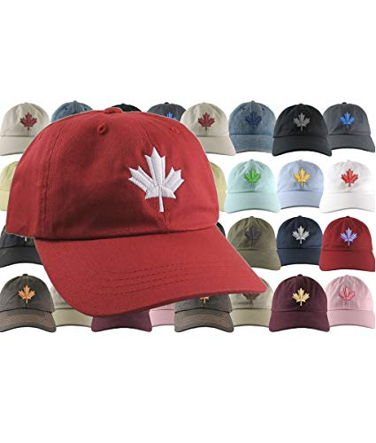 8a2e502e5ef81 Custom Canadian Maple Leaf Your Colour Choice Embroidery on Your Selection  of an Adjustable Unstructured Baseball