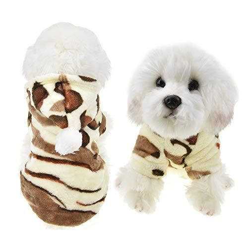 FLAdorepet Winter Fleece Pet Hoodie Clothes for Small Medium Dog Leopard Print Costume for Chihuahua Yorkie (L, Yellow) ()