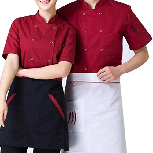 Casual Abrigos Chef Chaquetones Corta Chaqueta Cuello Botonadura Formal Uniforme Manga Dunkelrot Chaqueta Vestir Exteriores con Emmala Doble Nner Collar Prendas Hotel E4xCw7n8qv