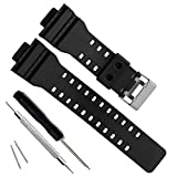 Natural Resin Replacement Watch Band Strap for Casio Mens G-Shock GD120/GA-100/GA-110/GA-100C (Black)