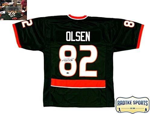 Greg Olsen Autographed/Signed Miami Hurricanes Green Custom Jersey - Greg Olsen Miami