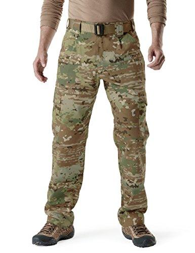 CQR CQ-TLP104-MTN_34W/36L Men's Tactical Pants Lightweight EDC Assault Cargo TLP104