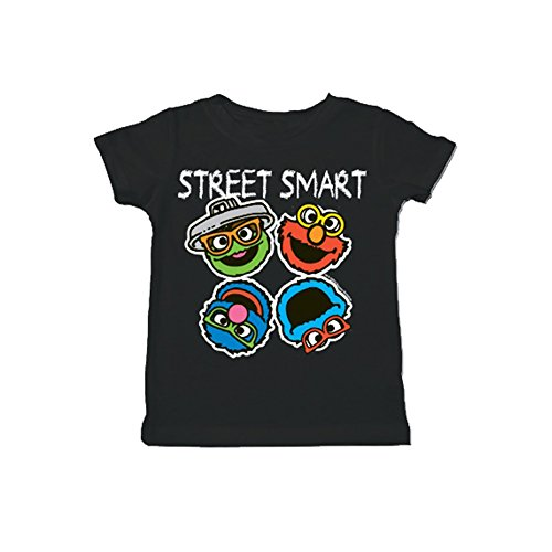 Sesame Street Smart Heads Toddler Black T-Shirt (4T)