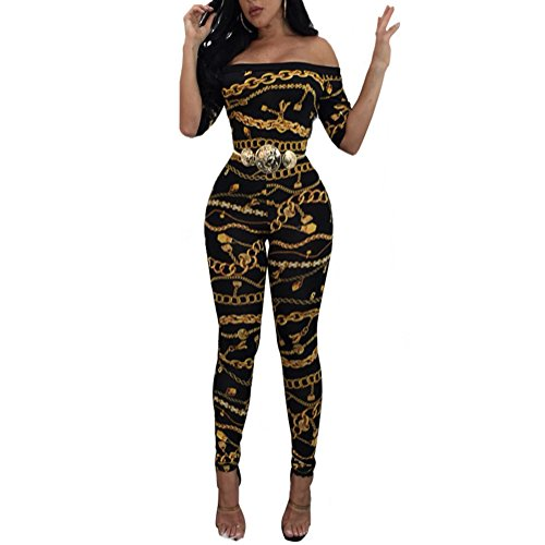 Sherro Women's Sexy Strapless Floral Printed Bodycon Jumpsuit Rompers Clubwear