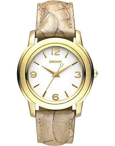 DKNY NY8333 Women's Gold Tone Metalic Leather Band White Dial Watch