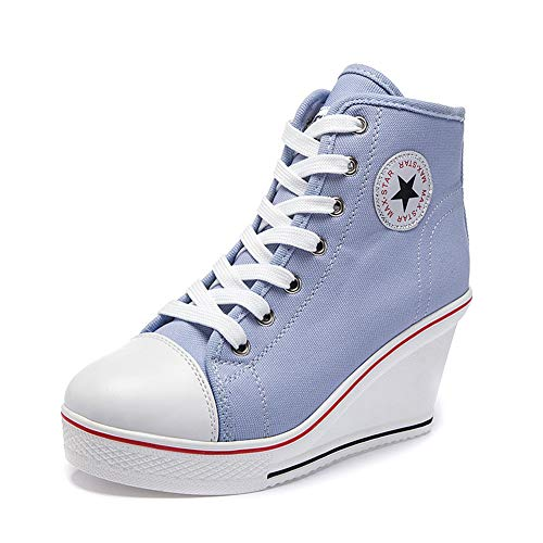 Nesyd Women's Sneaker High-Heeled Canvas Shoes High-Top Wedge Sneakers Platform Lace up Side Zipper Pump Fashion Sneakers (8 B(M) US, Blue)