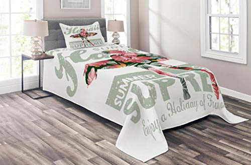 (Lunarable Hawaiian Coverlet Set Twin Size, Tropical Hawaii Hibiscus Surfing Girl Silhouette Surfboard Retro Themed Artprint, 2 Piece Decorative Quilted Bedspread Set with 1 Pillow Sham, Coral Green)