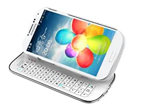 myBitti samsung Galaxy S4 SIV I9500 Ultra-Slim Slide-Out Detchable Multifunction Wireless Bluetooth Keyboard Case Sliding Adajustable Standing Backlight Specially Designed with solid protective back shell case cover-white