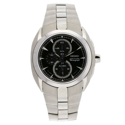 - Seiko Men's SNAC17 Arctura Stainless Steel Chronograph Black Dial Alarm Watch