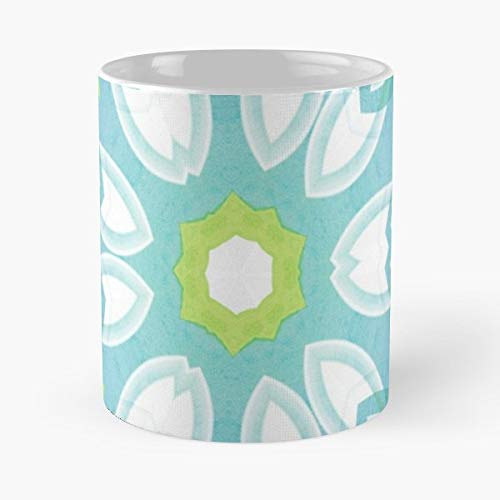 Lime Green Mandala Zesty - 11oz Novetly Ceramic Cups, Unique Birthday And Holiday Gifts For Mom Mother Wife Women.
