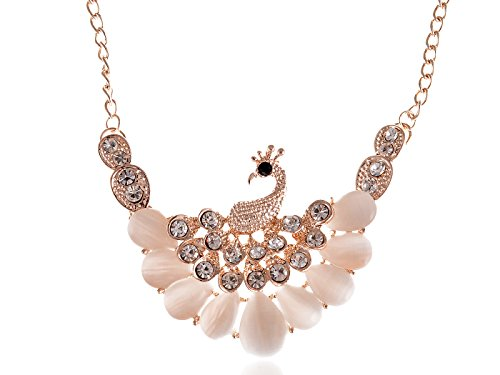 Alilang Golden Tone Peacock Bird Rhinestone Encrusted Necklace w Synthetic Opalescent Stones