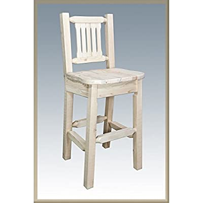 Montana Woodworks Homestead Collection Barstool with Back and Ergonomic Wooden Seat