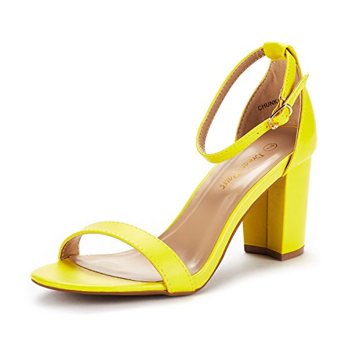 - DREAM PAIRS Women's Chunk Yellow Pu Low Heel Pump Sandals Size 8 M US