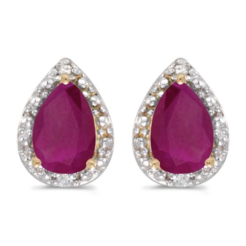 (10k Yellow Gold Pear Ruby And Diamond Earrings)
