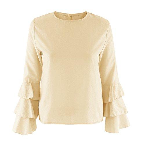 Automne Jaune Flare Rond T Femmes Fashion Shirts Chemisiers Casual Printemps Couleur Col Unie Blouse Sleeve JackenLOVE Top Tees et Hauts EqwH4F1g