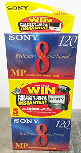 Sony 8mm Standard 120 minute 120MP Cassette Tape (5 Pack) by S