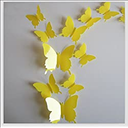 Romantiko 12 Pcs Fashion 3D Butterfly Wall Stickers Art Decor Decal For Home Wedding Party Yellow